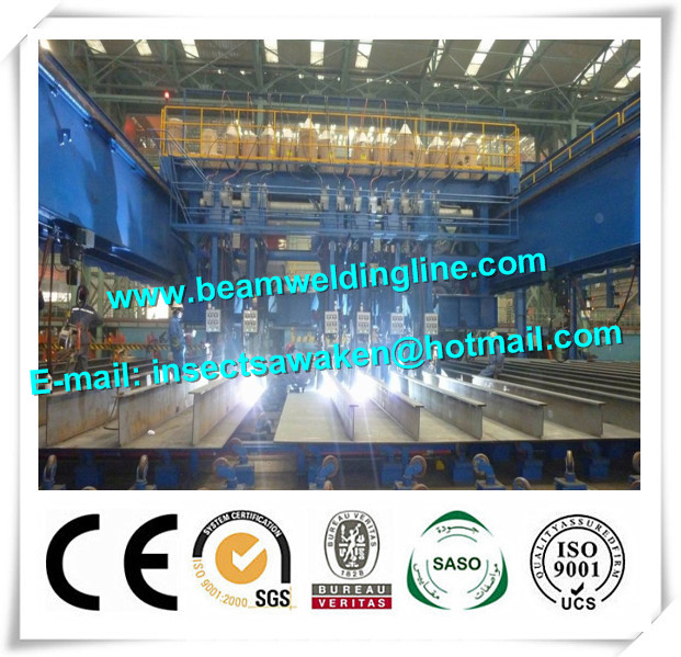 Crane Type H Beam Welding Line , Shipbuild Longitudinal Pole Automatic Welding Equipment