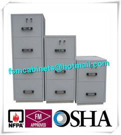 Steel 4 Drawers Fire Resistant File Cabinets , Fireproof File Cabinets For Documents