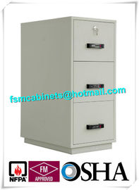 China Steel 3 Drawer Fireproof Safety Cabinet , Fire Resistant File Cabinet For Paper Documents distributor
